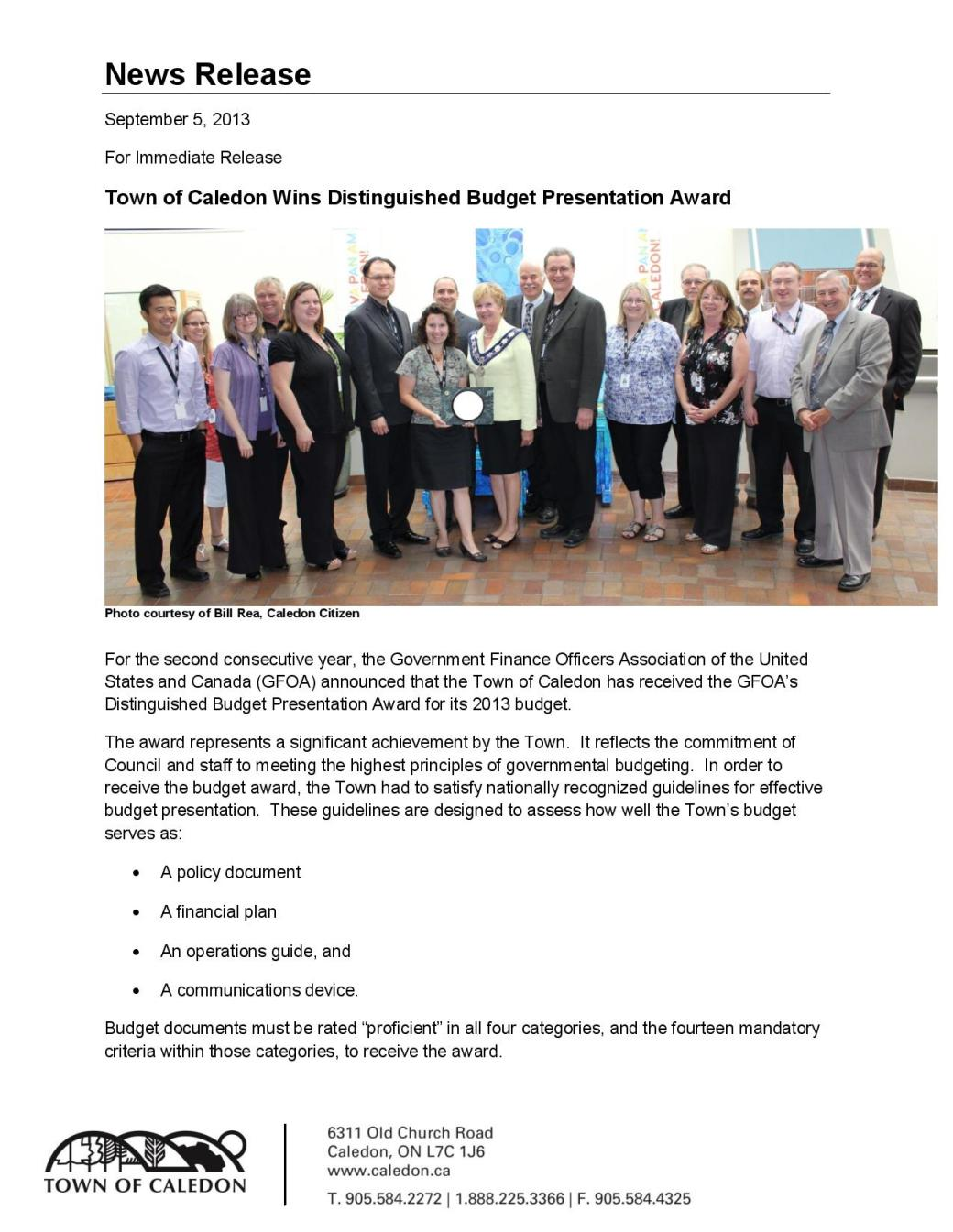 Town of Caledon Wins Distinguished Budget Presentation Award